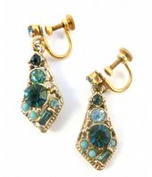 Vintage Blue Rhinestone Drop Screw Back Earrings